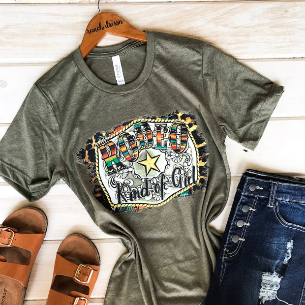 RODEO KIND OF GIRL - OLIVE TEE*