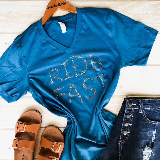 RIDE FAST BARBWIRE - BLUE V-NECK TEE*