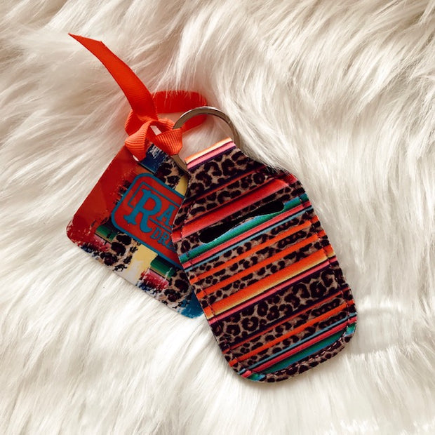 SERAPE LEOPARD HAND SANITIZER KEY CHAIN