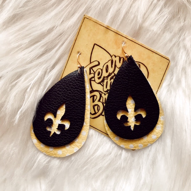 FLEUR DE LIS TEARDROP EARRINGS