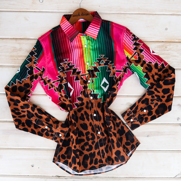 LEOPARD & SERAPE RODEO SHIRT (ADULT)