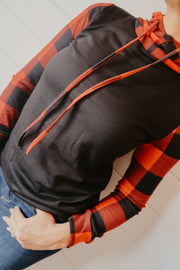 BUFFALO PLAID HOODED TOP
