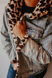 LEOPARD LINED DENIM JACKET