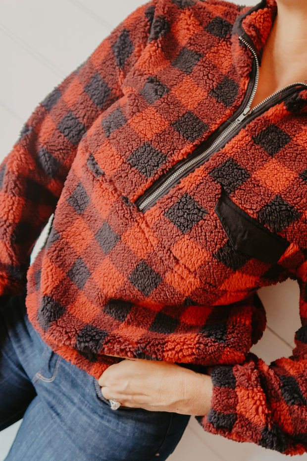 RED BUFFALO PLAID HALF ZIP FLEECE PULLOVER