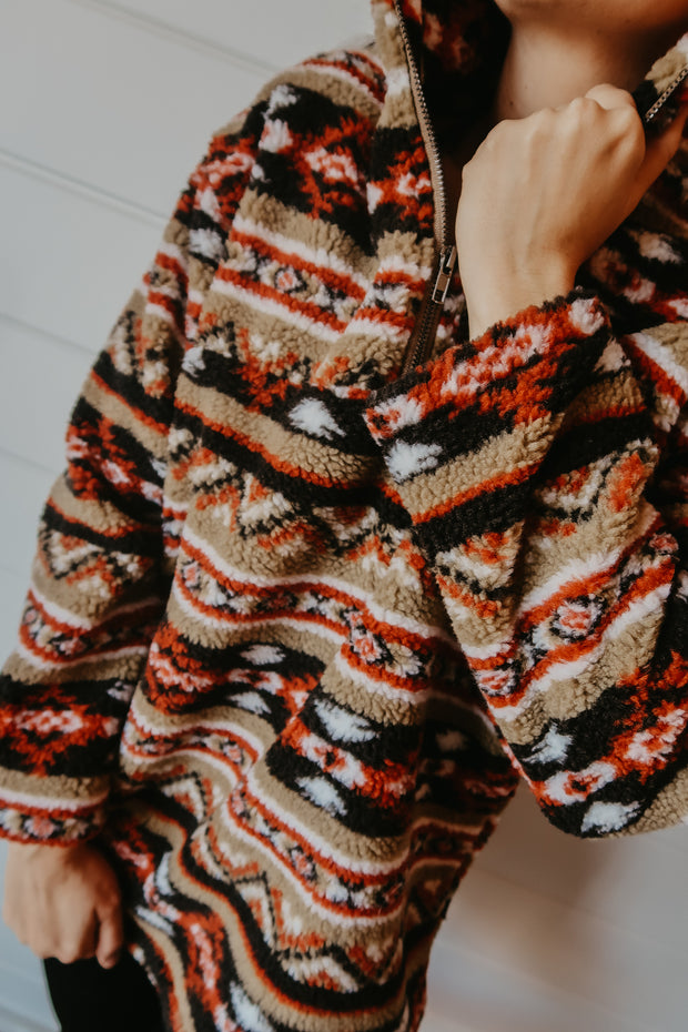 RED AZTEC SHERPA PULLOVER