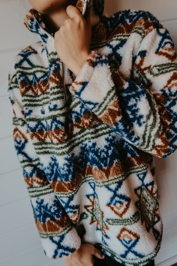 BLUE & IVORY AZTEC SHERPA PULLOVER