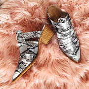 SNAKE BUCKLED MULES