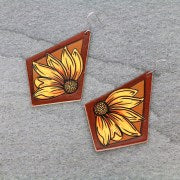 SUNFLOWER DIAMOND LEATHER EARRINGS