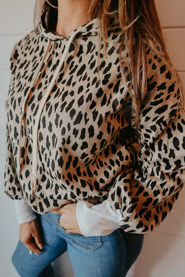 TAUPE LEOPARD HOODIE