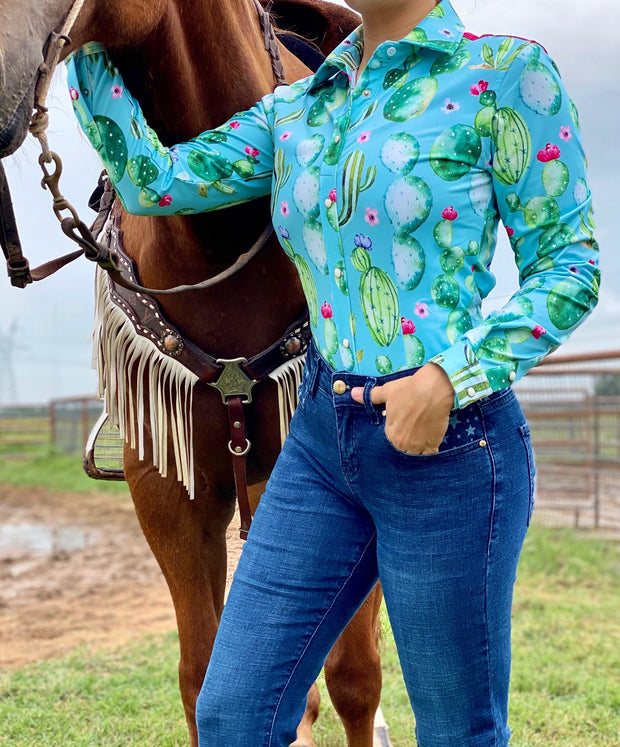 WATERCOLOR CACTUS PERFORMANCE RODEO SHIRT (ADULT)