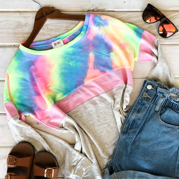 TIE DYE FRENCH TERRY WIDE NECK OATMEAL SWEATER