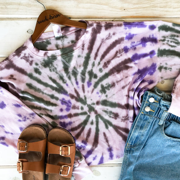 PURPLE/NAVY WAFFLE KNIT CROPPED TEE