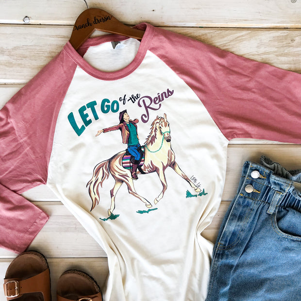 LET GO OF THE REINS - MAUVE BASEBALL TEE*