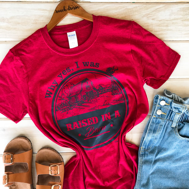 WHY YES I WAS RAISED IN A BARN - RED TEE*