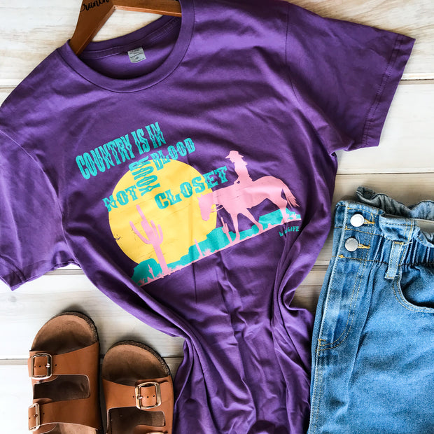 COUNTRY ISN'T IN YOUR CLOSET - PURPLE TEE*