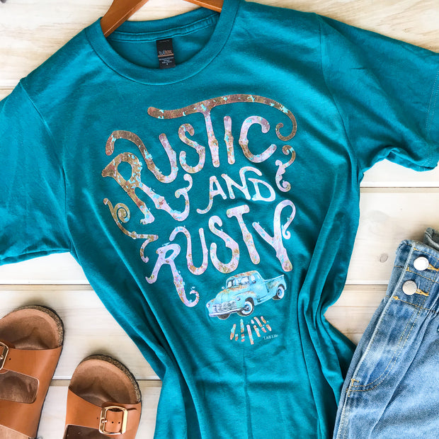 RUSTIC AND RUSTY - TEAL TEE*