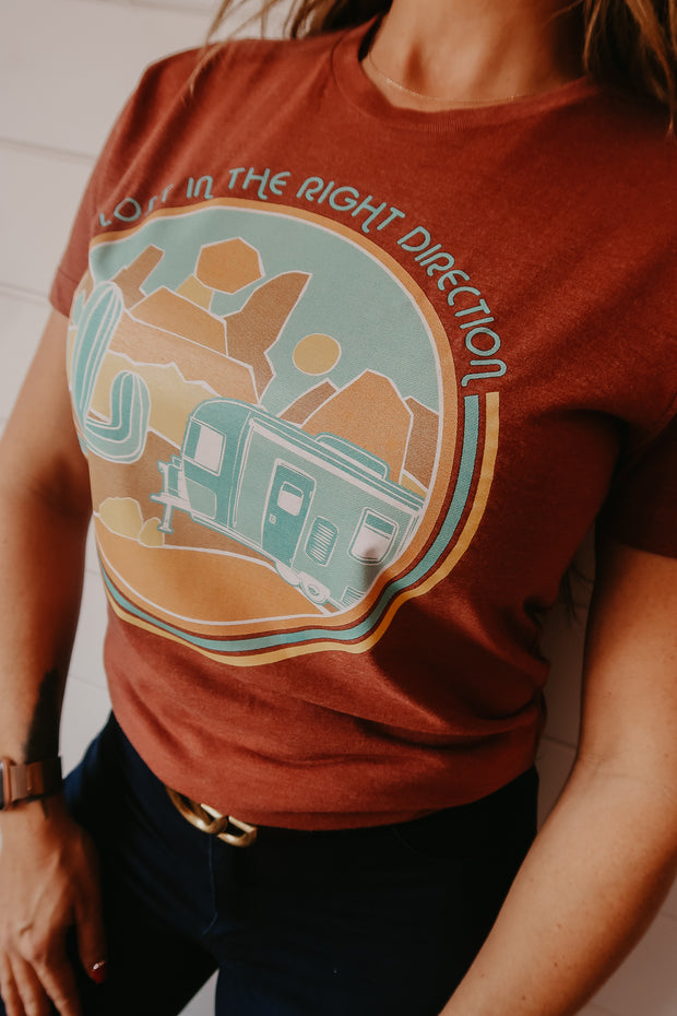 LOST IN THE RIGHT DIRECTION - RUST TEE**