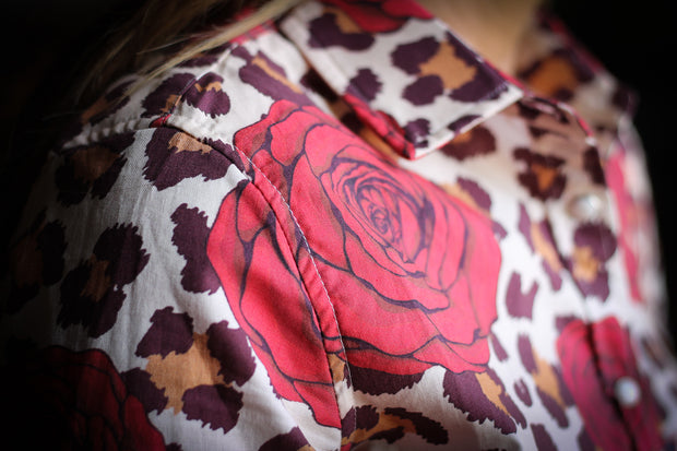 LEOPARD & ROSES AZTEC DENIM RODEO SHIRT (YOUTH)