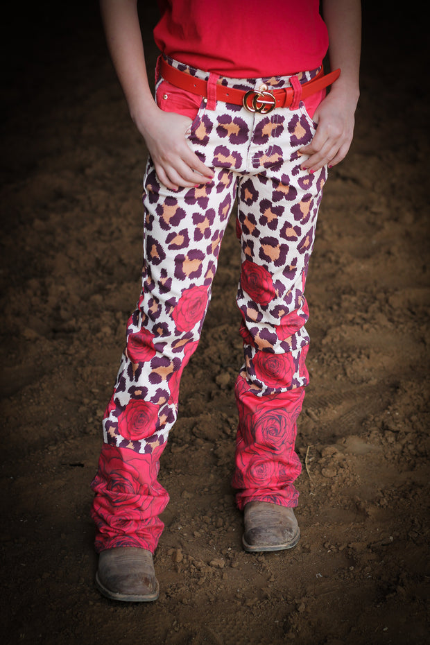 LEOPARD & ROSES FULL PRINTED BOOTCUT JEANS  (YOUTH)