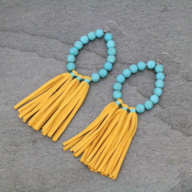 YELLOW TURQUOISE LEATHER TASSEL EARRINGS