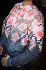 CHERRY BLOSSOM AZTEC DENIM RODEO SHIRT (ADULT)