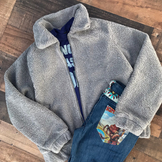 GRAY TEDDY BOMBER