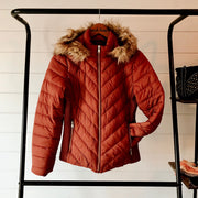RUST FAUX FUR HOODED PUFFY JACKET