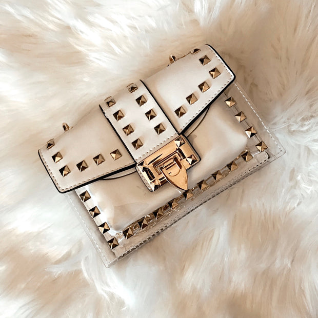 GOLD STUDDED LEATHER CLEAR BAG - WHITE