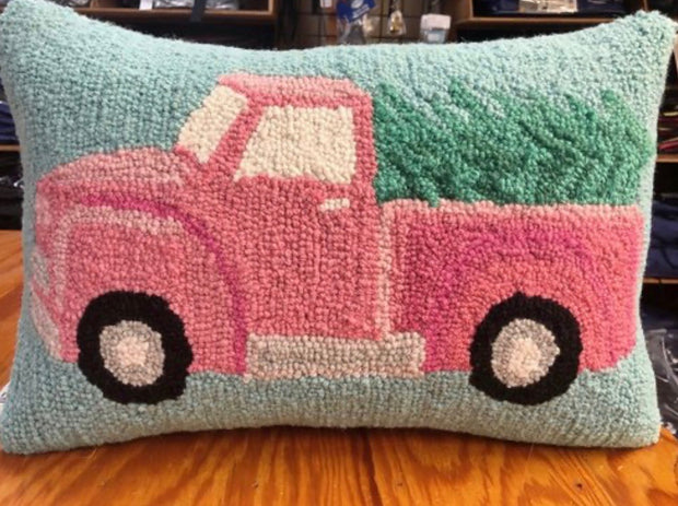 PINK HOLIDAY TRUCK 10X14 PILLOW