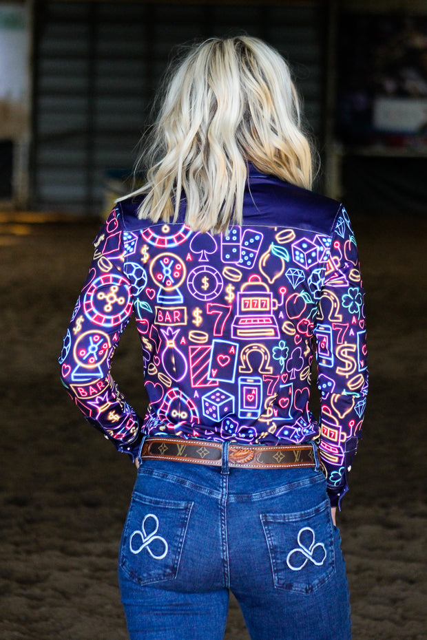 NEON LIGHTS PERFORMANCE RODEO SHIRT (ADULT)