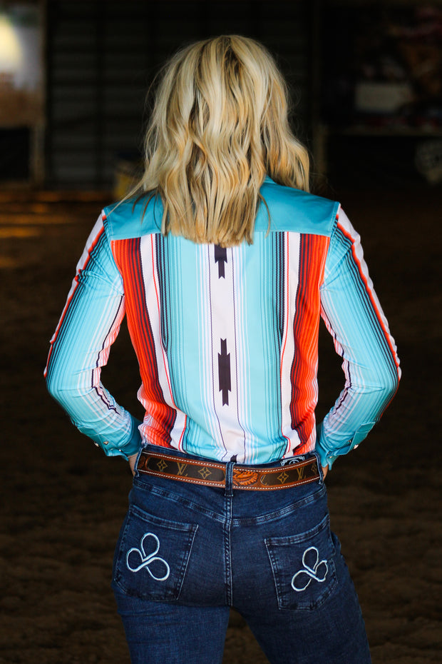 TEAL SERAPE PERFORMANCE RODEO SHIRT (ADULT)