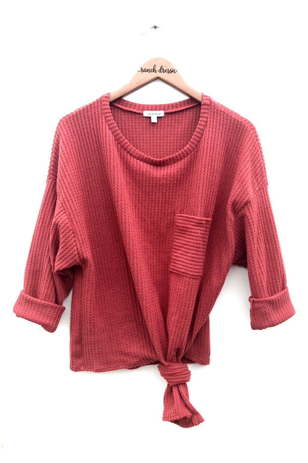 RUST KNIT TIE TOP