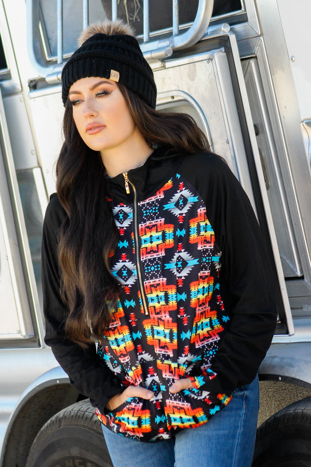 BLACK MULTICOLOR AZTEC HOODED PULLOVER TOP