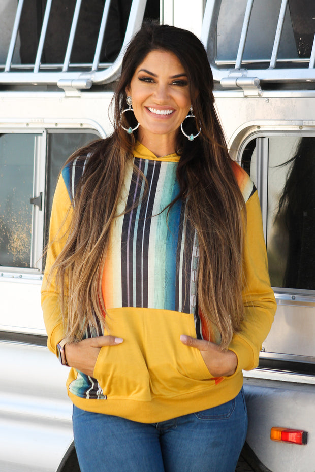MUSTARD SERAPE HOODED PULLOVER TOP