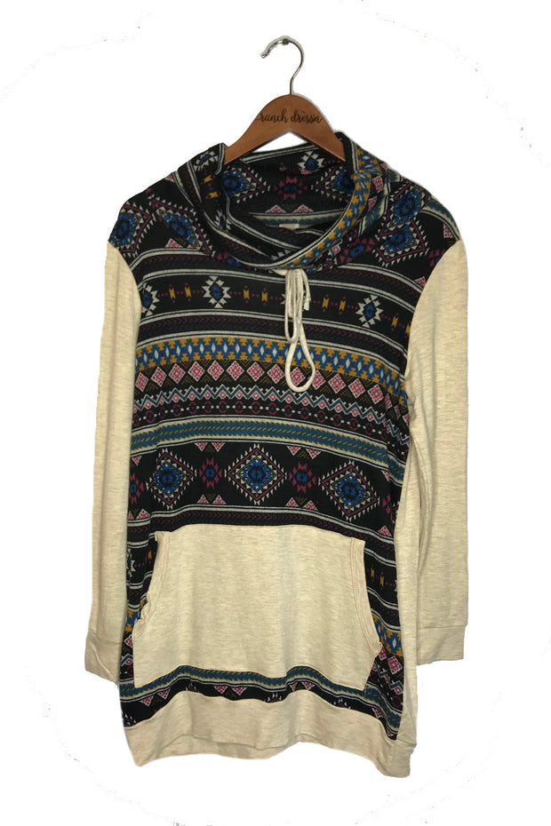 OATMEAL AZTEC PRINT COWL NECK SWEATER