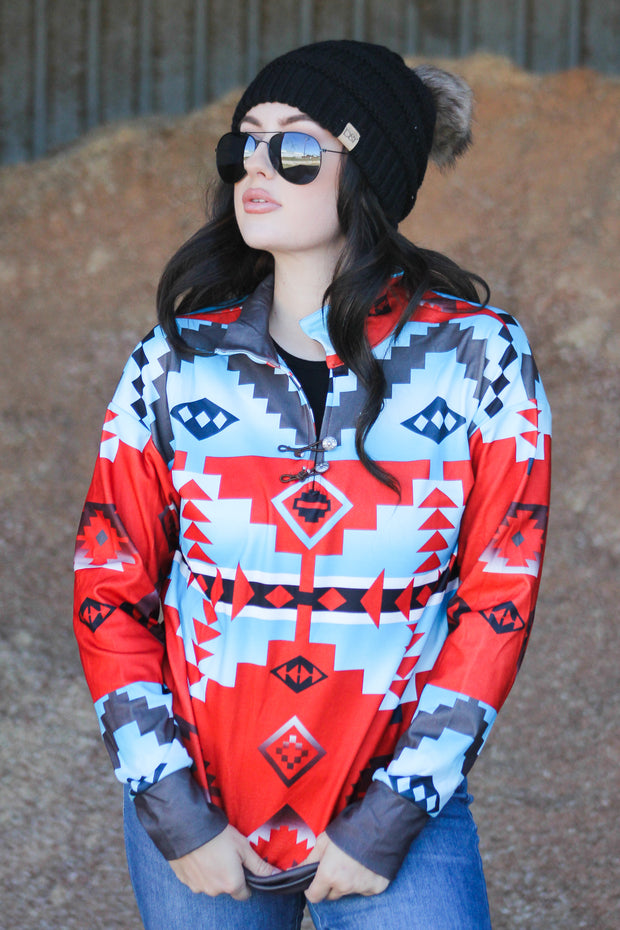 RED AND BLUE AZTEC PULLOVER