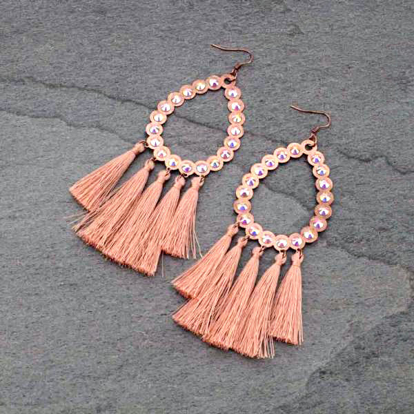 HOTTIE ROSE GOLD FRINGE EARRINGS