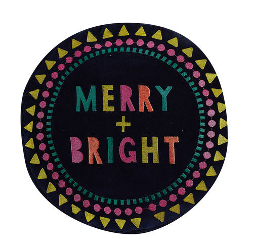 "MERRY AND BRIGHT 16"" ROUND PILLOW"