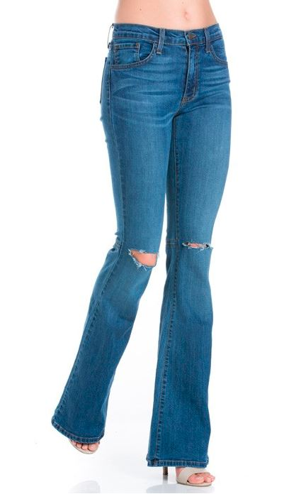 EXPOSED KNEE FLARED DENIM JEANS