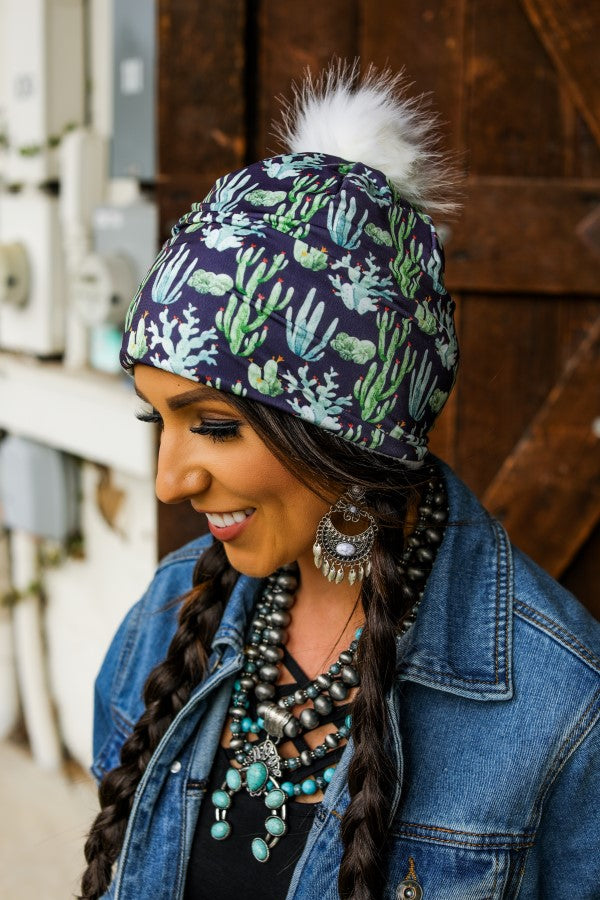BLACK CACTUS PRINT BEANIE WITH POM POM