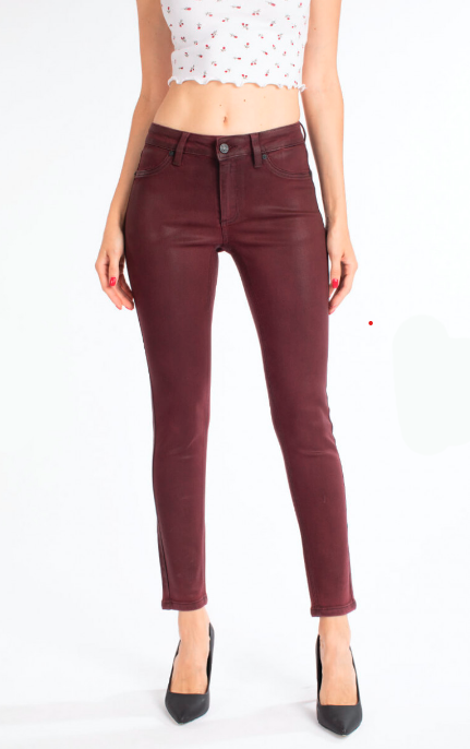 BURGUNDY MID RISE SKINNY JEANS