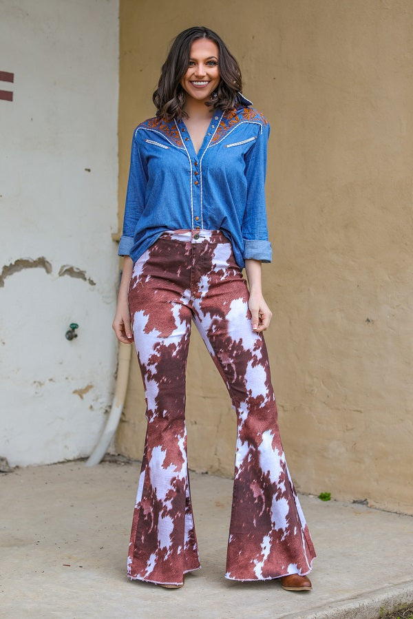 COWHIDE DENIM STRETCH FLARES
