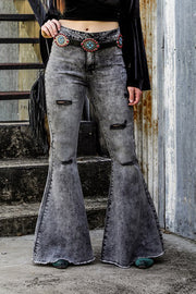 GRAY FLARE JEANS