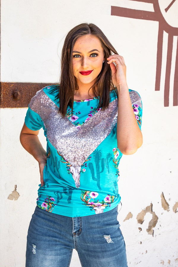 JADE COWSKULL WITH SILVER SEQUINS DOLMAN TOP