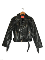 Studded fringe leather jacket
