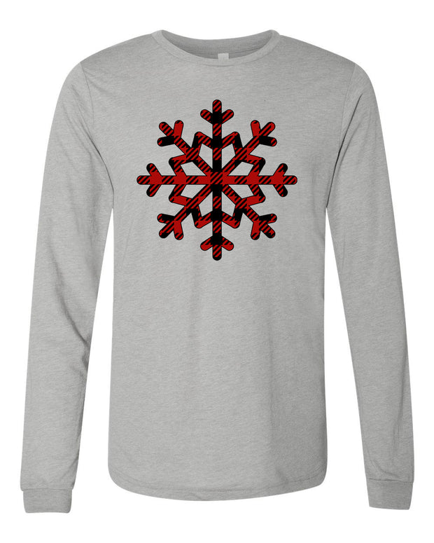 PLAID SNOWFLAKE - HEATHER ASH LONG-SLEEVE TEE