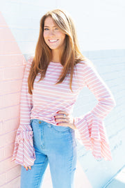 PINK & WHITE STRIPE BELL SLEEVE TOP