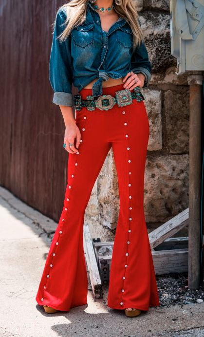 RED BLING STUDDED FLARES