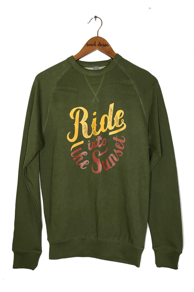 RIDE INTO THE SUNSET - OLIVE PULLOVER