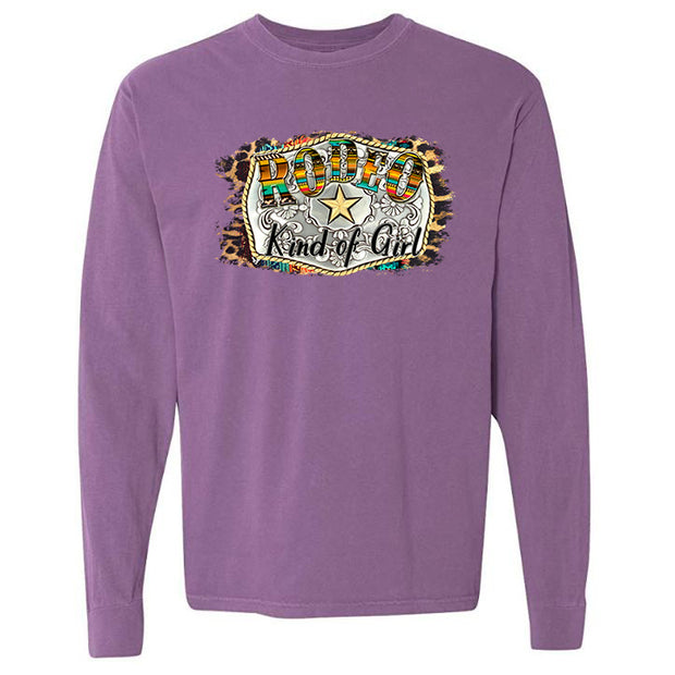 RODEO KIND OF GIRL - PURPLE LONG SLEEVE TEE